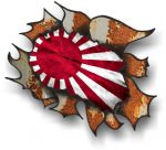 Ripped Torn Metal Rusty Design With JDM Japanese Rising Sun Flag External Car Sticker 105x130mm